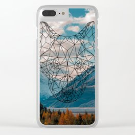 Wolf nature mountain Clear iPhone Case