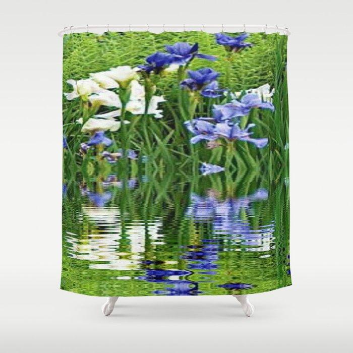 BLUE & WHITE IRIS WATER REFLECTION ART Shower Curtain