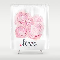 shabby chic Shower Curtains featuring Shabby Chic Rose Bouqet by KarenHarveyCox