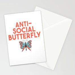 Cute Relatable Anti-Social Butterfly T-Shirt Stationery Cards