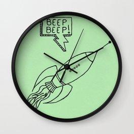 Rocket Ship Illustration Wall Clock