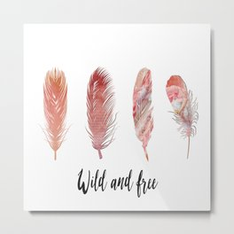 Pinl peach colored feathers on white with quote Metal Print