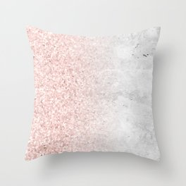 Blush Pink Sparkles on White and Gray Marble Throw Pillow