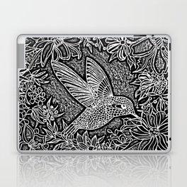 Hummingbird In Flowery Wreath Linocut Laptop & iPad Skin