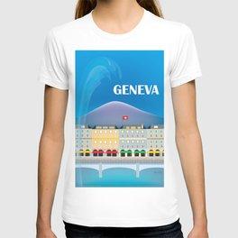 Geneva, Switzerland - Skyline Illustration by Loose Petals T-shirt