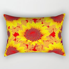 Yellow Sunflowers Abstract In Burgundy Color Rectangular Pillow
