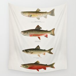 Illustrated North American Freshwater Trout Game Fish Identification Chart Wall Tapestry