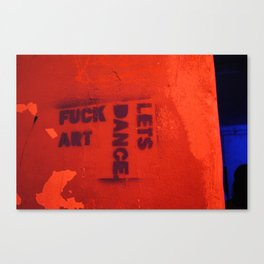 Photograph of graffiti at a squatters' house in Zagreb, Croatia Canvas Print