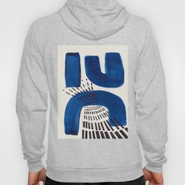 Colorful Mid Century Modern Abstract Fun Shapes Patterns Navy Blue Abstract Expressionism Hoody