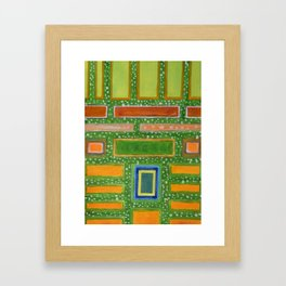Filled Rectangles on Green Dotted Wall Framed Art Print