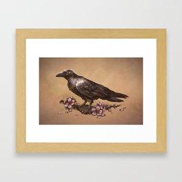 Raven and Cherry Blossoms Framed Art Print