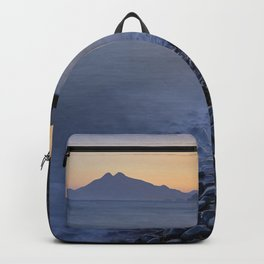 Carnaje Beach. Cabo de gata. At sunset. Backpack