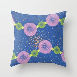 Beaded Planets Blue Throw Pillow