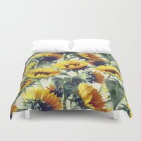 grey Duvet Covers featuring Sunflowers Forever by micklyn