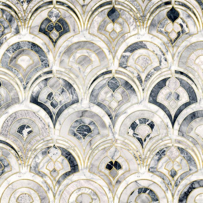 Monochrome Art Deco Marble Tiles Leggings