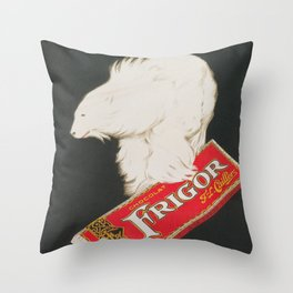 Polar Bear and Chocolate Candy Vintage Advertisement Throw Pillow