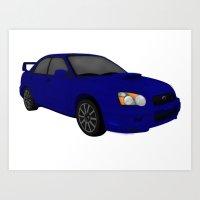 subaru Art Prints featuring Subaru STi  by tracyannostrander