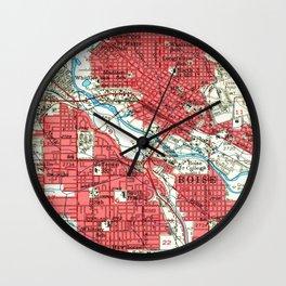 Vintage Map of Boise Idaho (1954) Wall Clock