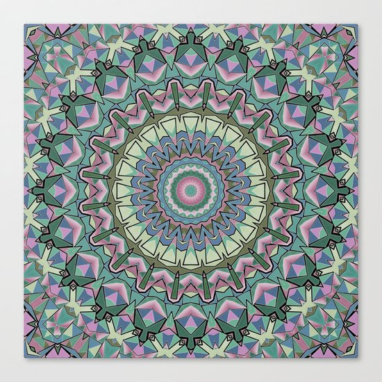 Gray green colorful ornament . Mandala . Kaleidoscope . Canvas Print