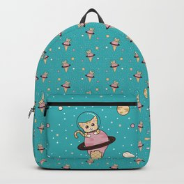 Space Cat on Ice Cream Planet Backpack