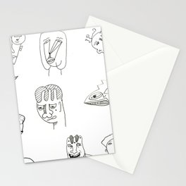 Cartoon character design print with monster people Stationery Cards