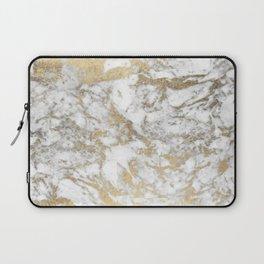 Modern chic faux gold white elegant marble Laptop Sleeve