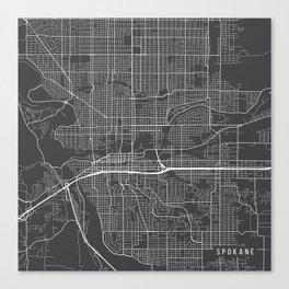 Spokane Map, USA - Gray Canvas Print