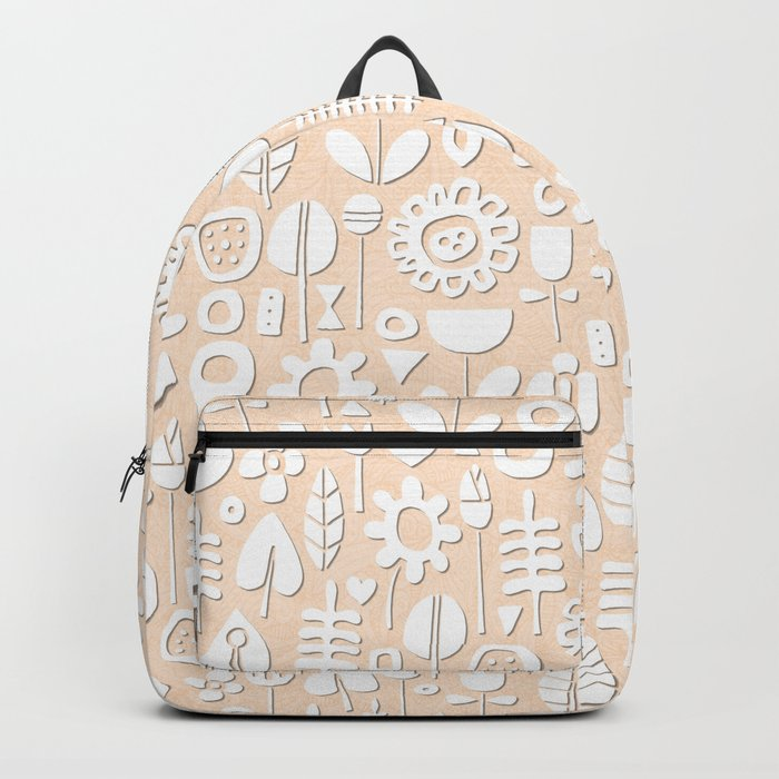 paper cut flowers white peach Backpack