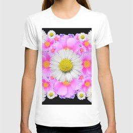 Ebony Black  Color Shasta Daisys & Rose Pattern Garden Art T-shirt