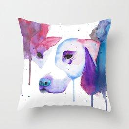 Watercolour Pitbull Throw Pillow