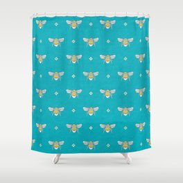 Bumblebee Stamp on Pool Blue Shower Curtain
