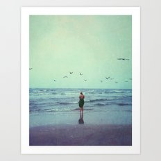 Woman on the Beach Art Print