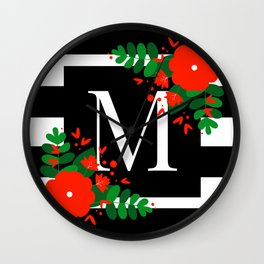 M - Monogram Black and White with Red Flowers Wall Clock