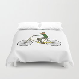 Mr. Fox on a Bicycle Duvet Cover