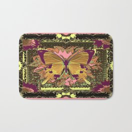 Western Style Swallow Tail Butterfly in pinks and Greenish Black Designs Bath Mat