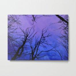 Purple Clouds Cloudy Trees Sky Vivid Violet A178 Metal Print