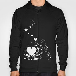 White Valentine Hearts On Red Background Hoody