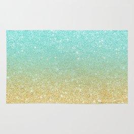 Modern robbin egg blue glitter ombre gold glitter Rug