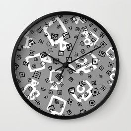 pattern with symbols of photos and videos Wall Clock