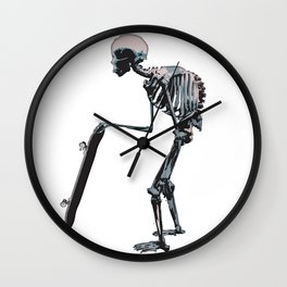 old school skateboarder or maybe just old  Wall Clock
