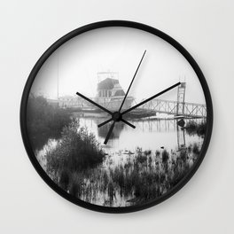 Foggy Harbor North Shore 5 BW Wall Clock