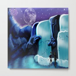 Waterfall Moon Dance Metal Print