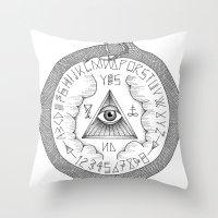 ouija Throw Pillows featuring Ouija by oracularcoven