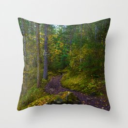 Walking along the Berg Lake Trail in Fall Throw Pillow