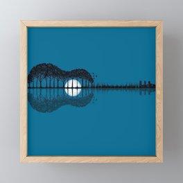 Trees sea and the moon turned guitar Framed Mini Art Print