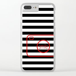 Minimalist Era - Black & White Stripe - Red Smile Clear iPhone Case