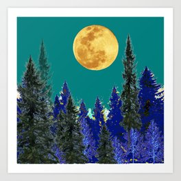 BLUE FOREST TEAL SKY MOON LANDSCAPE ART Art Print