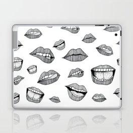 Lips. Black and white drawing. Laptop & iPad Skin