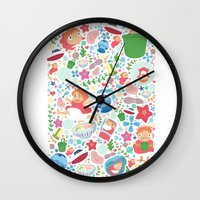 ponyo Wall Clocks featuring Ponyo Pattern - Studio Ghibli by Teacuppiranha