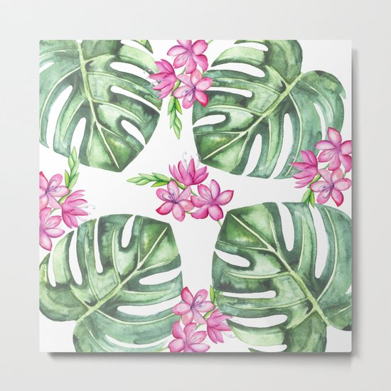 Tropical Flowers And Monstera #society6 Metal Print